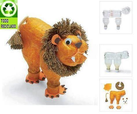como hacer un trabajo manual de reciclaje leon con botellas manualidades pinterest le 243 n