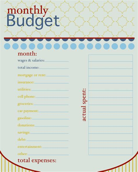 monthly budget worksheets free printable or printable monthly bill