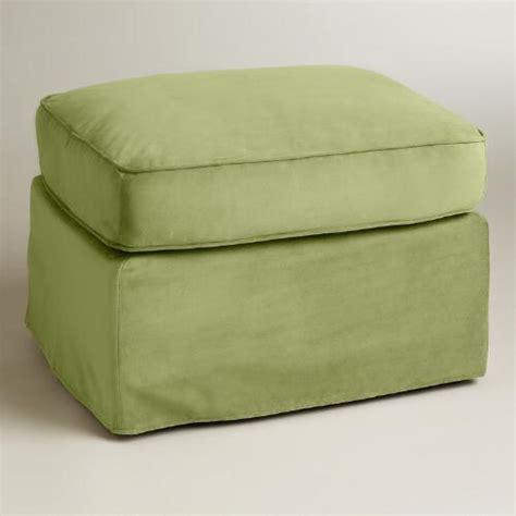 Green Velvet Ottoman Oregano Green Velvet Fit Luxe Ottoman Slipcover World Market