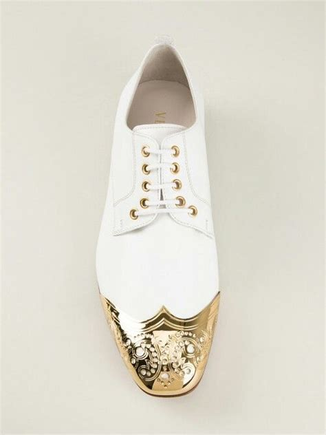 zapatos versace white gold point shoes men