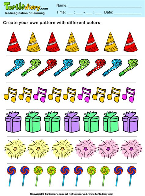 object pattern worksheet color the objects create your own new year pattern