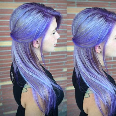 gray hair with a periwinkle highlight periwinkle blue and purple hair color melt by liz robson
