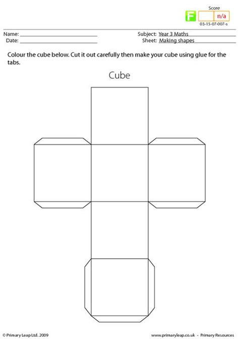 How To Make A Cube Box Out Of Paper - primaryleap co uk shapes cube worksheet