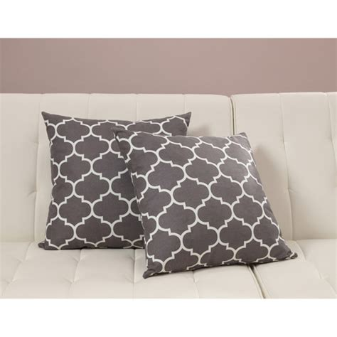 walmart couch pillows dorel home products accent pillows set of 2 gray trellis