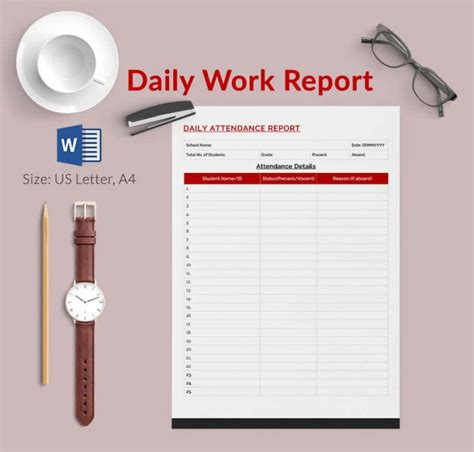 daily task report template daily report template 62 free word excel pdf