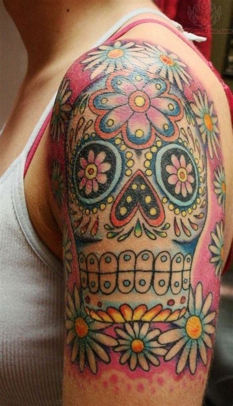 tattoo background color sugar skull tattoo half sleeve the pink background color