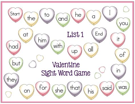 valentines word list free sight word boards february center