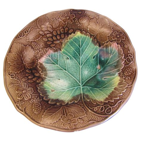 brown green lovely brown green majolica plate grapes strawberries