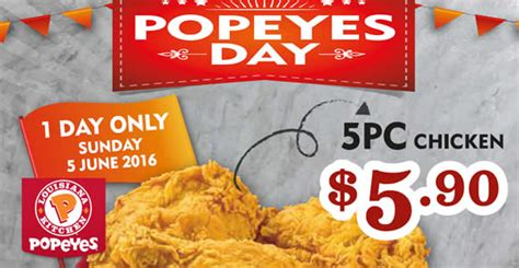 Popeyes Chicken Gift Cards - popeyes day 5 90 5pcs chicken 1 day promo on 5 jun 2016