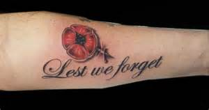 lest we forget poppy tattoo on sleeve
