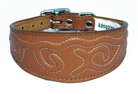 Greyhound Collars Handmade - embossed stitch design leather wholesale whippet