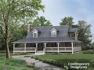 Country House Style Ranch Style House With Wrap Around Porch