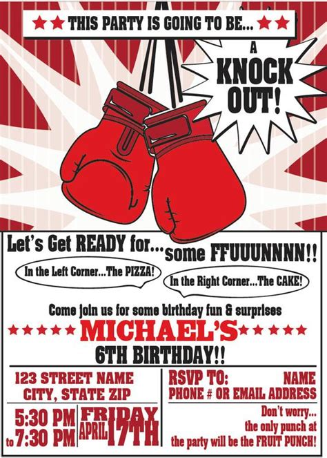 Boxing Party Invitations For Any Event Boxing Birthday Party Boxing Templates Free