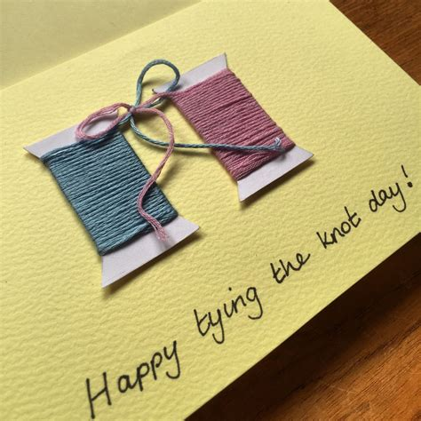 handmade tying  knot wedding card