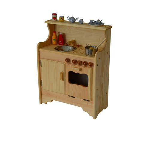 Handmade Wooden Play Kitchen - handcrafted wooden play set waldorf kitchen play
