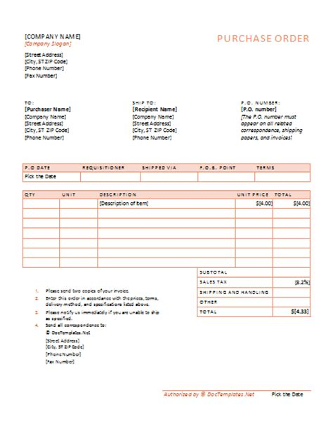 document templates free purchase order template for pdf