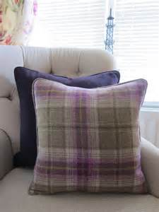Checked Cushions Pear Tree Designs Checked Wool In Purple Green Sold