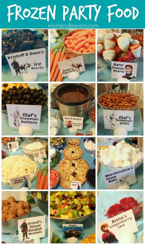 printable frozen menu great themed foods for a disney frozen party via