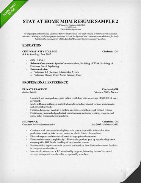 stay at home resume some experience 2015 resumes and