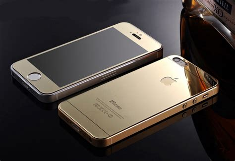 Tempered Glass Mirror Front Back Set Iphone 55s Pink Gold mirror effect tempered glass screen protector for iphone 5 5s 6 6 plus front back gold