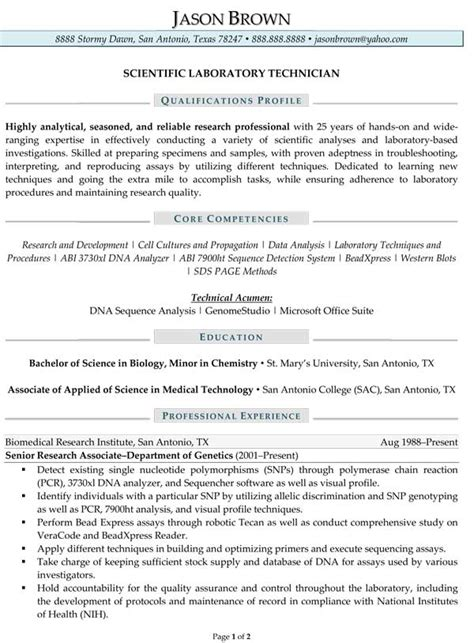 sle resume for lab assistant resume sle research scientist personal profile format in