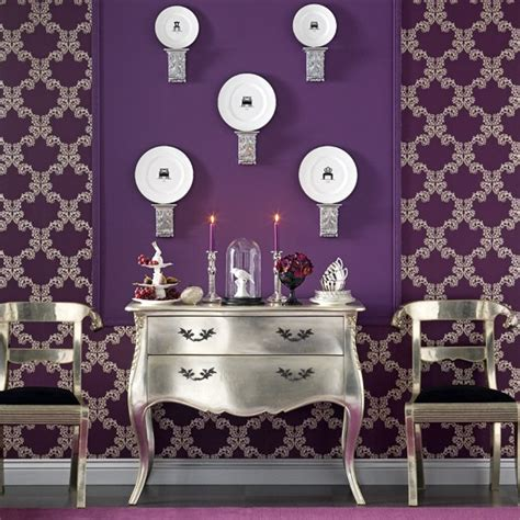 purple and silver room opulent dining room wall display dining room designs