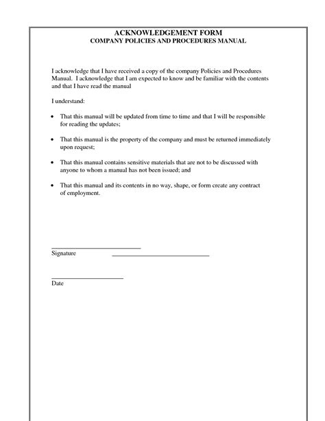 policy acknowledgement form template best photos of acknowledgement receipt letter template for