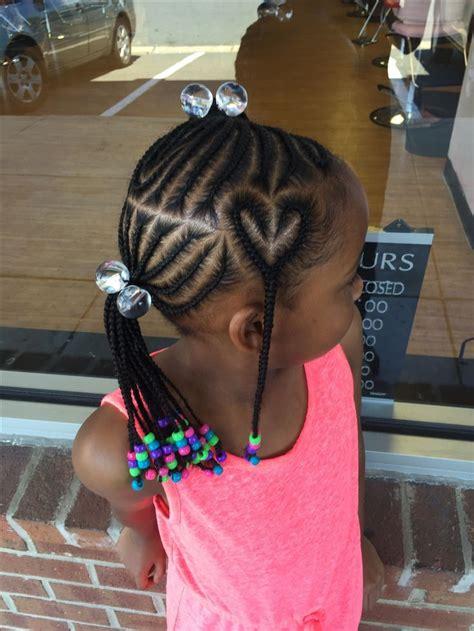 cornrows  heart design kids hairstyles lil girl