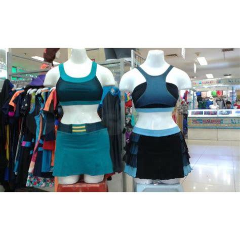 baju senam merk sweet warna tosca dan biru muda claseek indonesia