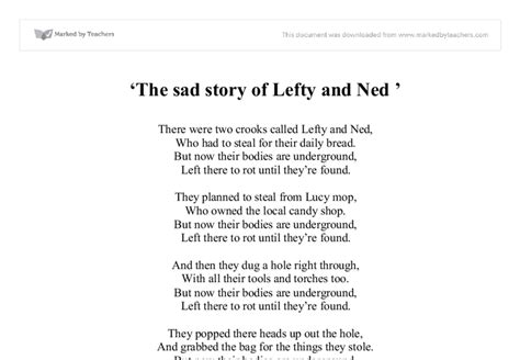Ned Essay by Poem The Sad Story Of Lefty And Ned Gcse Marked By Teachers