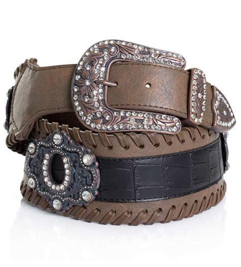 kamberley womens wide waist horseshoe concho belt brown