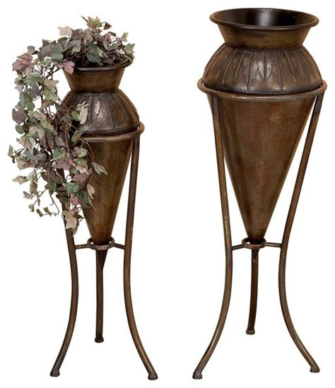vase planters with stand set of 2 vases