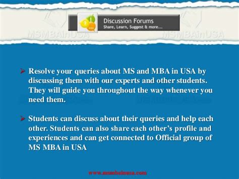 Admission Process For Mba In Usa by Ms Mba In Usa Higher Education In Abroad