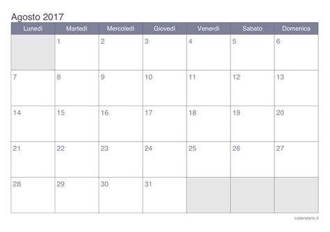 Agosto Calendario Calendario Agosto 2017 Da Stare Icalendario It