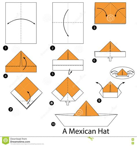 On How To Make A Paper Hat - step by step how to make origami a mexican