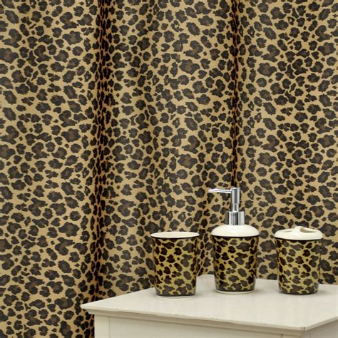 cheetah shower curtains bath accessories leopard brown shower curtain and ceramic bath accessory 16
