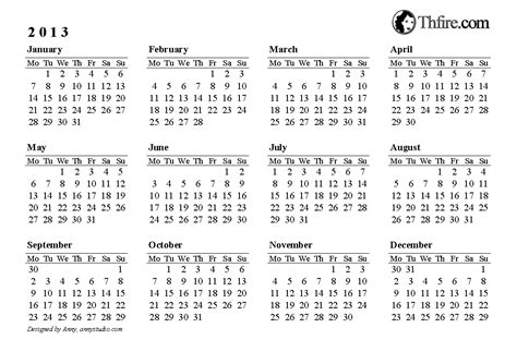 printable yearly calendar 2014 landscape 2013 calendar printable thfire com