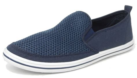 mens mesh canvas yachting deck shoes slip on pumps dek