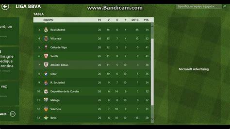 tabla posiciones liga espaola bbva 2015 2016 liga tabla de posiciones en la liga bbva 27 02 2016 youtube