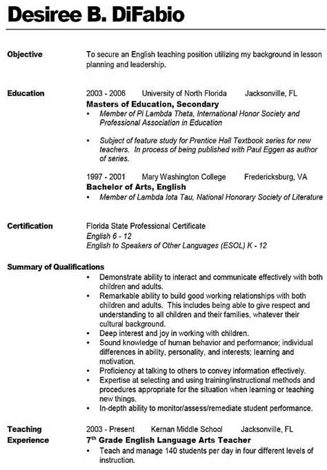 Resume Sample For Teacher by 10 Best Images About Middle English Teacher Resume