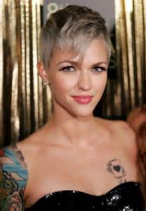 pixie grey hair styles short gray pixie haircut with long bangs ruby rose