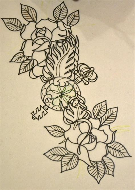 two roses and key sketch best tattoo designs