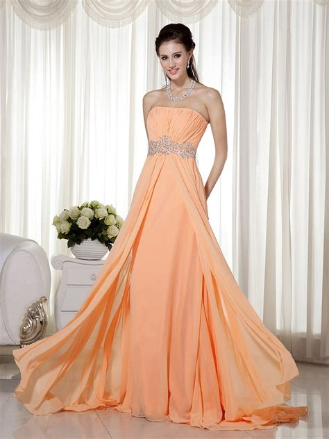 apricot color dress strapless sleeveless apricot orange chiffon dress
