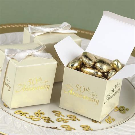 2 x 2 Ivory 50th Anniversary Favor Boxes