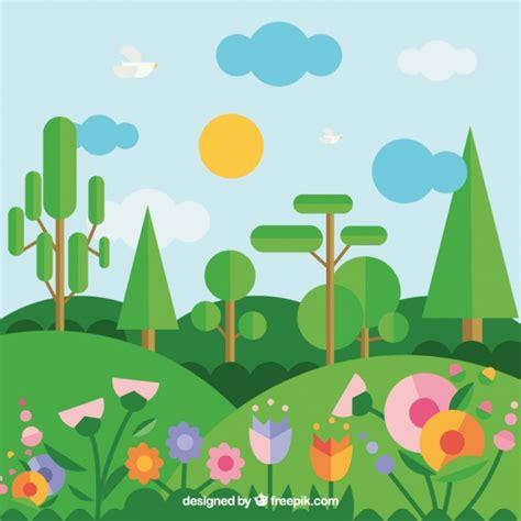 alberi con fiori paesaggio geometrico con alberi e fiori scaricare