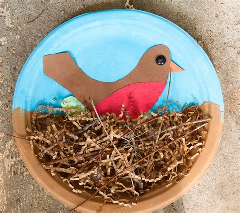 Bird Paper Plate Craft - paper plate birds and nests munchkins and
