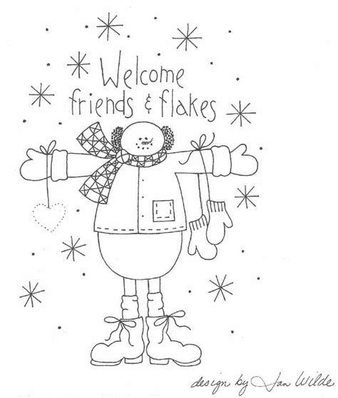 welcome friends flakes snowman stitchery pattern