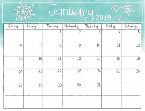 january 2019 calendar watercolor monthly 2019 calendar calendar