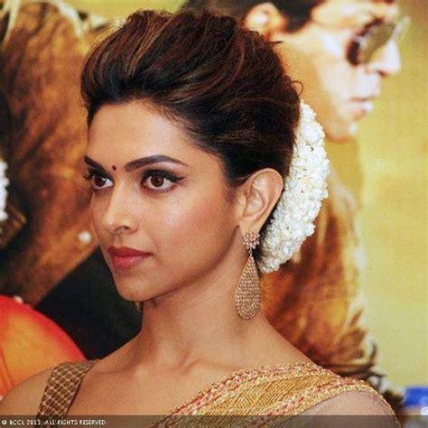 deepikas hairstyle classic indian bun   gajra
