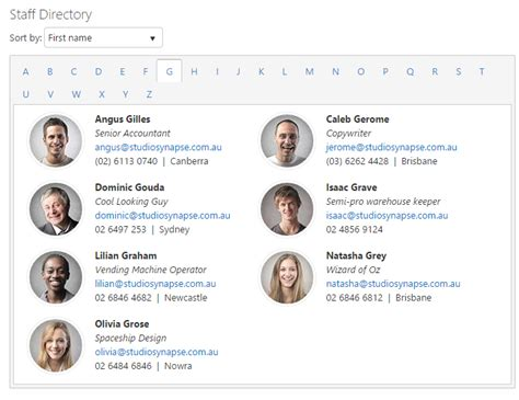 staff list template sharepoint staff directory for sp2013 studio synapse